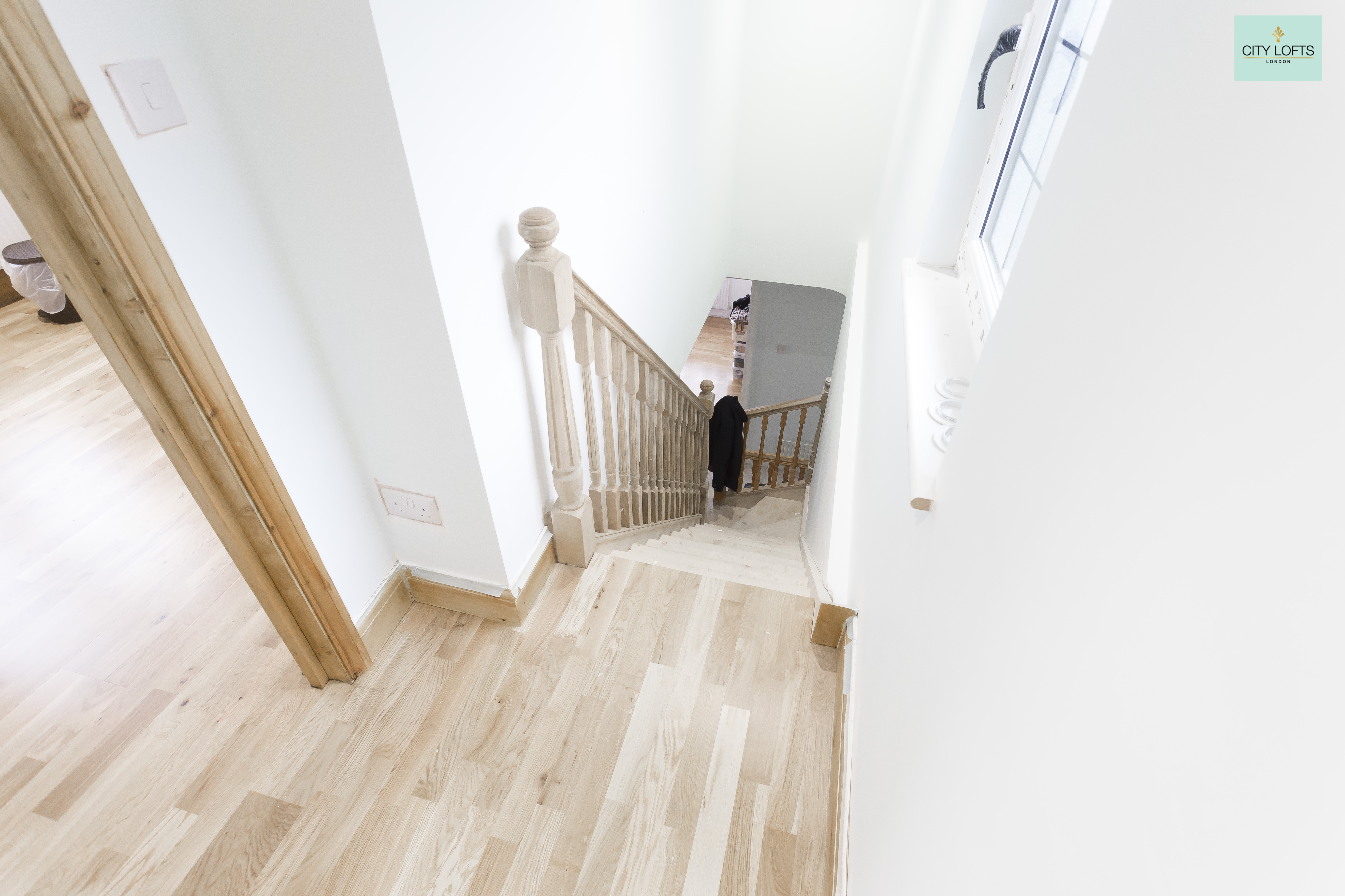 Totteridge loft conversion stairs view downstairs